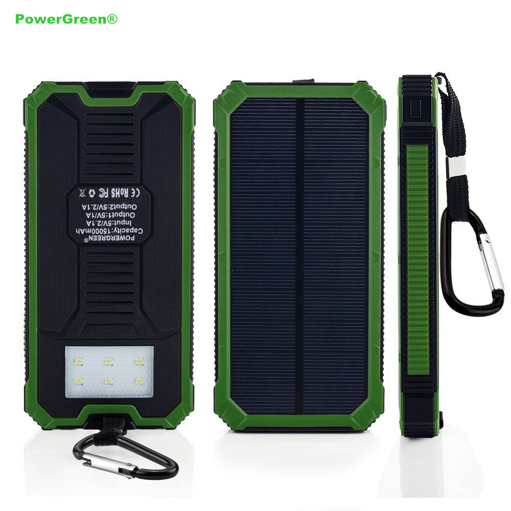 PowerGreen Solar Battery Charger 15000mAh Double Output Solar font b Powerbank b font Battery Pack for
