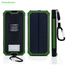 PowerGreen Solar Battery Charger 15000mAh Double Output Solar Powerbank Battery Pack for LG Phone with Carabiner Design