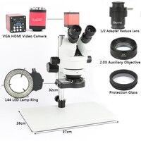 Телефонная пайка ПХД ремонтная лаборатория промышленная 7X 45X 90X Simul focal Тринокулярный стереомикроскоп VGA HDMI видеокамера 720 P 13MP
