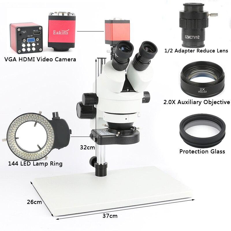 Telefone PCB Solda Reparação Laboratório Trinocular Microscópio Estéreo 7X 45X 90X Simul-focal Industrial VGA Câmera de Vídeo HDMI 720 P 13MP