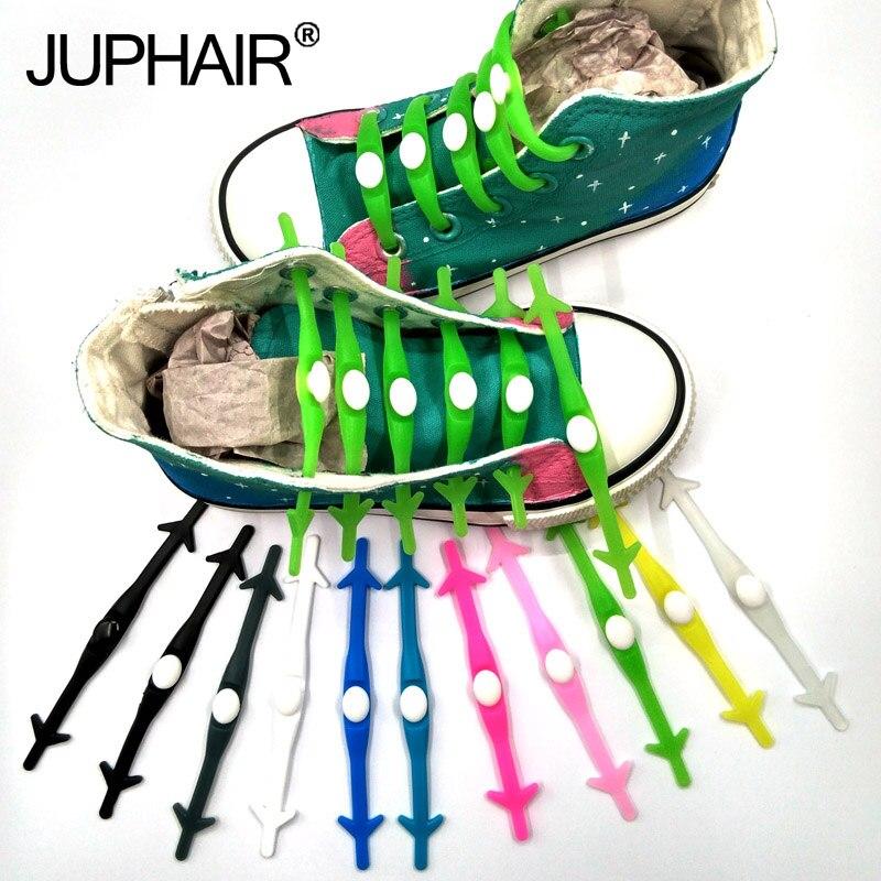 JUP 1 Set /12 Pcs 14 Color None Necktie Shoelaces Adult Kids Elastic Silicone Luminous Shoelaces Casual Sports Lazy Shoelaces