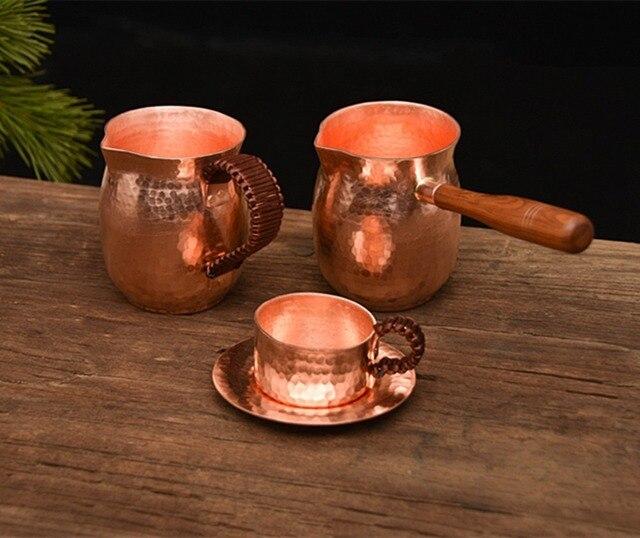FeiC pure copper handmade coffee tea set Turkish Greek Arabic Coffee Pot with wooden handle Coffee Maker Ibrik for barista 1