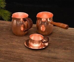 Image 2 - Feic puro cobre artesanal café chá conjunto turco grego árabe cafeteira com alça de madeira cafeteira ibrik para barista