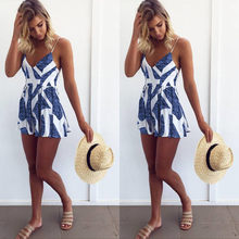 a89a53e25ac9 Sleeveless Summer Lace Up Jumpsuit Sexy Women Floral Printing Backless Club  Wear Deep V Neck Evening Party Playsuit Clothes