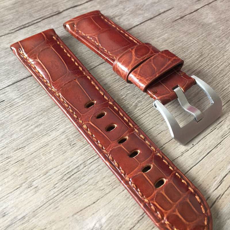 Handmade Crocodile Leather Watchbands, 24MM Brown American Crocodile Leather Strap, Classic Pattern Watchbands, Fast Delivery handmade leather watchbands version classic men black 24mm 26mm watchbands for panerai strap fast delivery