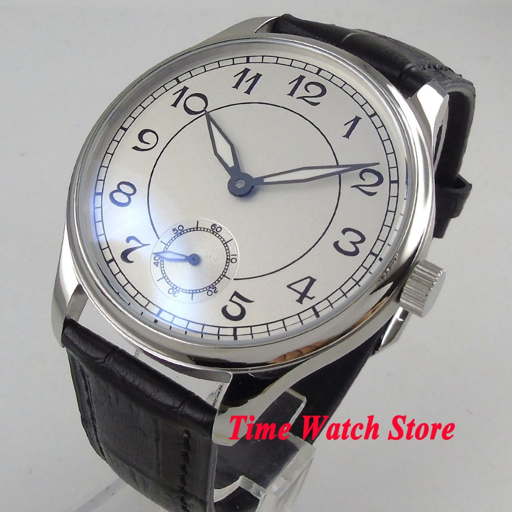 Parnis 44mm white sterile dial luminous 17 jewels 6498 mechanical hand winding movement Men's watch P28