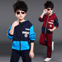 Children's clothing male child set spring and autumn child color block zipper decoration twinset spring child sports casual set