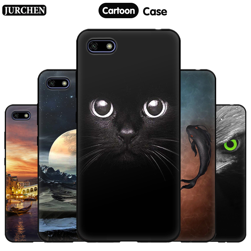 JURCHEN Phone Case For Huawei Y5 2018 Silicone Case Soft Cartoon Cute  Back Cover For Hauwei Y5 Prime 2018 Case Cover 5.45 Inch