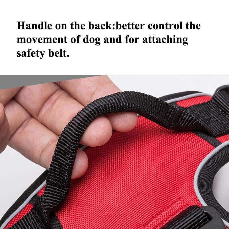 Truelove Reflective Nylon Large pet Dog Harness All Weather Service Dog Ves Padded Adjustable Safety Vehicular