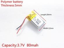 3.7 V, 80 mAH 501220 PLIB (polymeer lithium ion/Li Ion batterij) voor Slimme horloge, GPS, mp3, mp4, mobiele telefoon, luidspreker