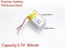 3,7 V, 80mAH 501220 PLIB (batería de polímero de iones de litio/iones de litio) para reloj inteligente, GPS, mp3, mp4, teléfono móvil, altavoz