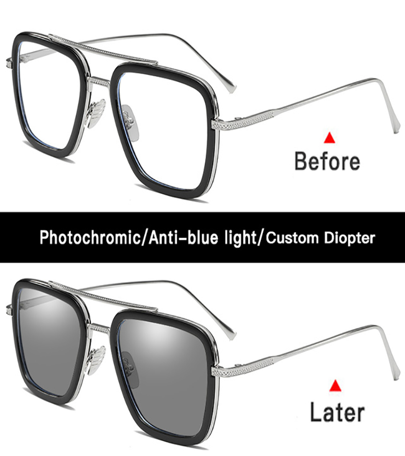 Image 5 - Iron man Tony Stark sunglasses myopia Robert downey jr Avengers  steampunk anti blue light photochromic Spider Man Edith Glasses-in Men's Sunglasses from Apparel Accessories