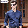 PORT&LOTUS Men's Casual Blouse Thin Shirt Men Print Long Sleeves Male Shirts Brand Clothing For Men Camisa Masculina YT020 83225