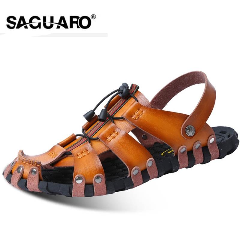 SAGUARO גברים סנדלי עור אמיתי אופנה גלדיאטור קיץ חוף כפכפים להחליק על כפכפים גברים Zapatos Sandalias Hombre