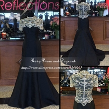 Stunning High Neck Black Mermaid Prom Dress Real Sample Beaded Sexy See Through Back Short Sleeve Long Prom Dresses 2017