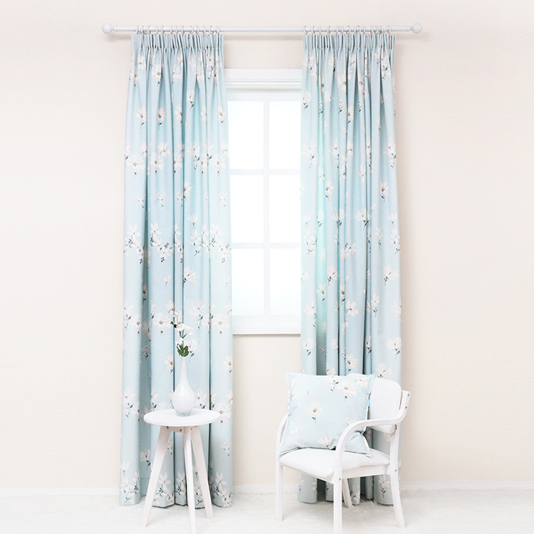 Free shipping modern minimalist fresh light blue chintz curtains curtain fabric in curtains from - Benefits of light colored upholstery and curtains ...