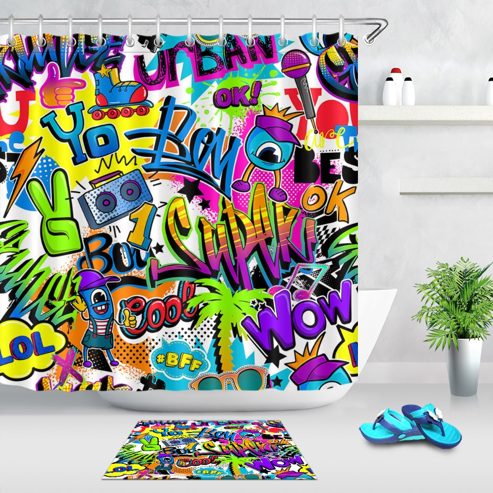 abstract comics graffiti pattern extra long shower curtains bathroom curtain waterproof polyester fabric for boy bathtub decor