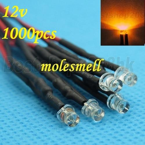 Free shipping 1000pcs 3mm 12v Flat Top Orange LED Lamp Light Set Pre-Wired 3mm 12V DC Wired 3mm big/wide angle Orange 12v led