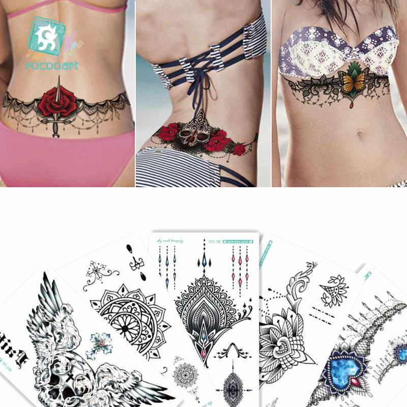 20c8876155251 BC-5Sheets Trendy Women Chest Back Temporary Tattoo Large Flower Shoulder  Arm Sternum Tattoos Sexy