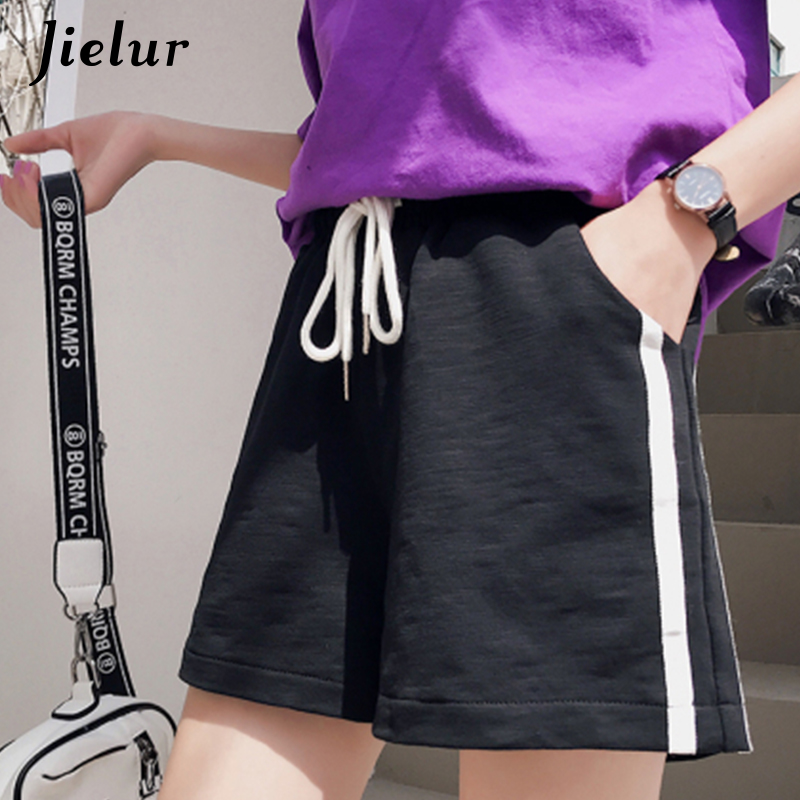 Jielur Shorts Wide-Leg Feminino High-Waist Summer Women Korean Loose for BF Blue Black