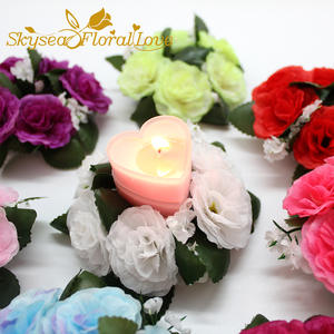 Top 10 largest silk flowers candles rings list 10cm ring wreath garland artificial decorative rose flower mightylinksfo