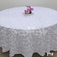 White 2.6M/102 Wedding Round Table Cloth Overlays 3D Rose Flower Tablecloths Wedding Decoration Banquet Party Table Supplier