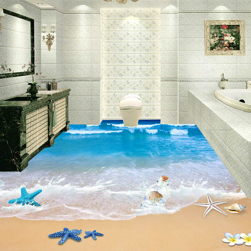 Custom 3D Floor Murals Wallpaper Beach Bathroom Waterproof Floor Sticker PVC Self-adhesive Mural Papel De Parede 3D Home Decor novelty smile face rainbow led night lights battery night lamps for baby room nursery living room decor kids christmas gifts