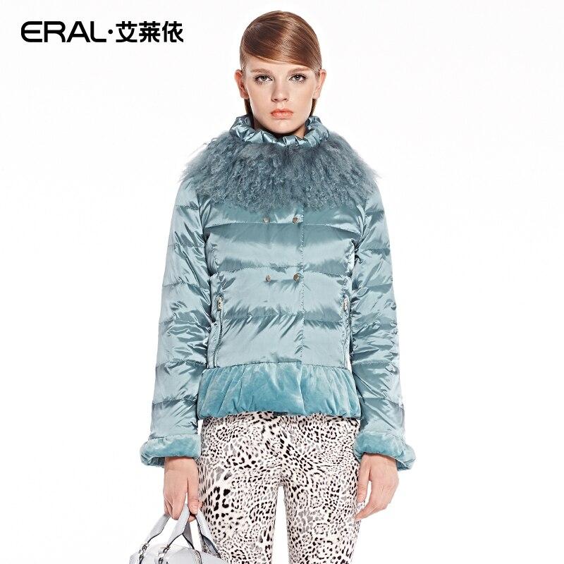 ERAL New Arrival Winter   Coat   Women's Slim Elegant Velour Patchwork Short   Down   Jacket with Mongolian Fur Collar ERAL2030C