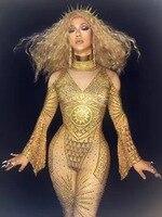 Высококачественный Женский костюм, блестящий Золотой Стразы, рукав труба, комбинезон для певцов в ночном клубе концертная сцена износ вече