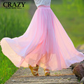 Hot 2017 S-4XL Women Plus Size High Waist Long Chiffon Skirt Vintage Ladies Floor Length Maxi Skirts Fashion Plissada Midi Saia