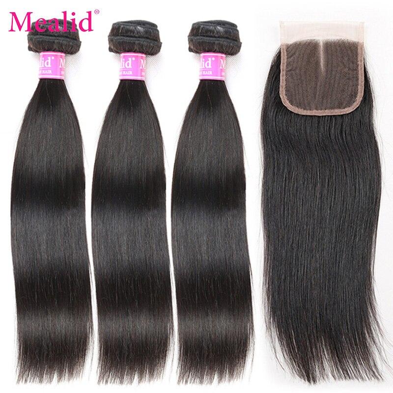 Mealid Peruvian Straight Human Hair Bundles With Closure 3 4 Bundles With Closure Non remy Human Hair Bundles Extensions