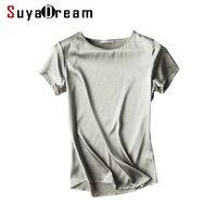 100 Real Silk Women T Shirt Short Sleeve Solid Silk Satin Casual Top Blusas Femininas 2017