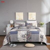 3 шт. американский стиль серый одеяло набор лоскутное покрывало набор 100% хлопок одеяло покрывало 250*270 см цветок наволочки домашний текстиль
