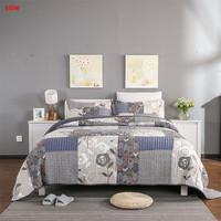 3pcs American style gray quilt set patchwork bed cover set 100%cotton quilt bedspread 250*270cm flower pillowcases home textile