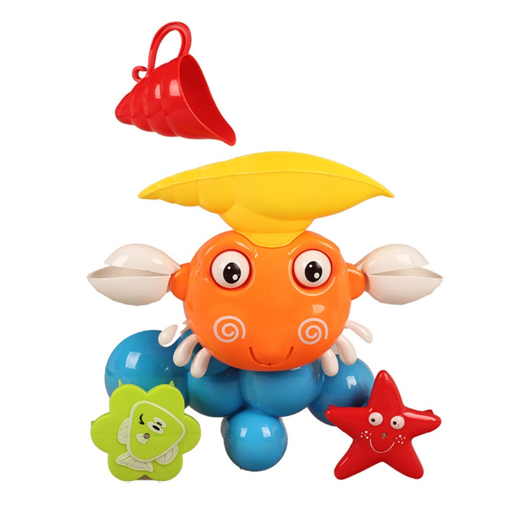 Baby Water Game Bath Toy Kids Plastic Bathroom Shower Accessories Funny Water Game Bath Toy Gift Cute Crab Rotating