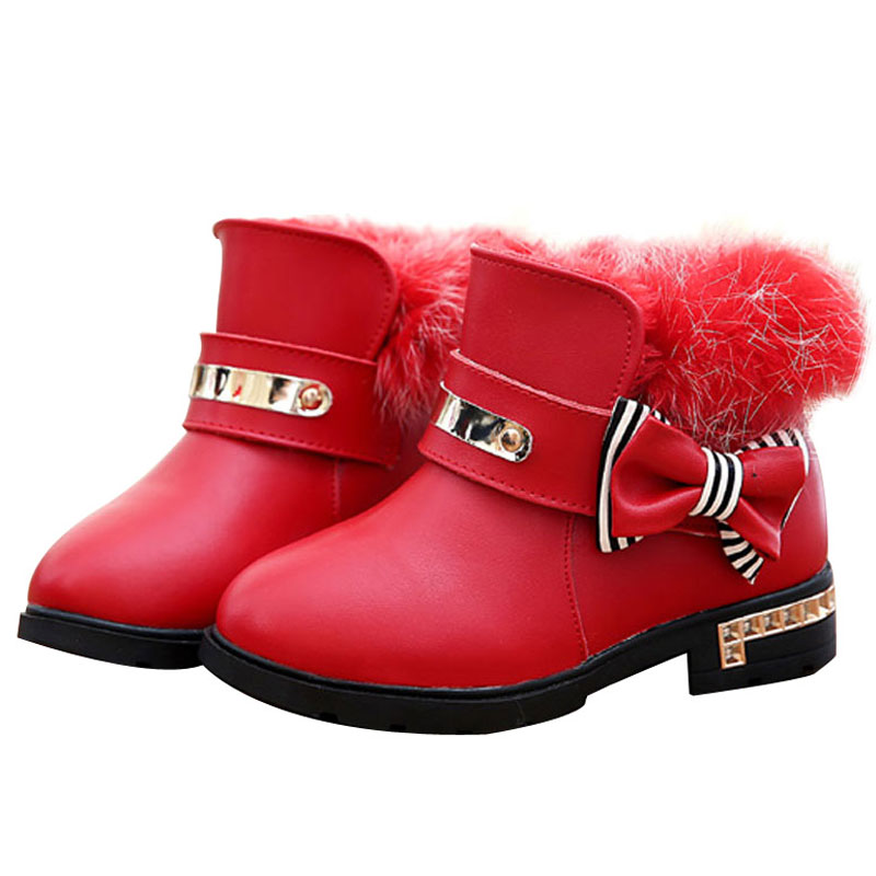 ФОТО Girls New Plush Solid Bow Metal Decoration PU Snow Boots 2017 Winter Fashion  Princess Boots Warm for Kids 2 Colors 26-37 Size