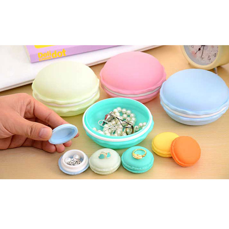 Portable Cute Macaron Mini Storage Box  Beautiful Candy Color Jewelry Boxes Necklace Earrings Ring Carrying Cases 4 Colors