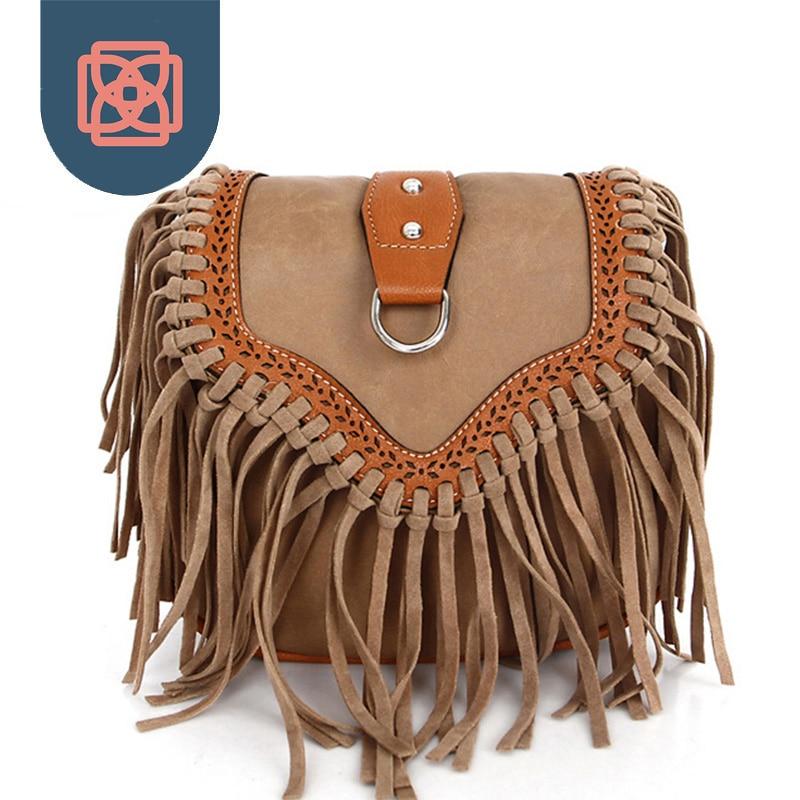 Boho Free Spirit Tassel Cross Body Purse Retro Hippie Designer Women's Gypsy Fringe Bohemian Shoulder Bag
