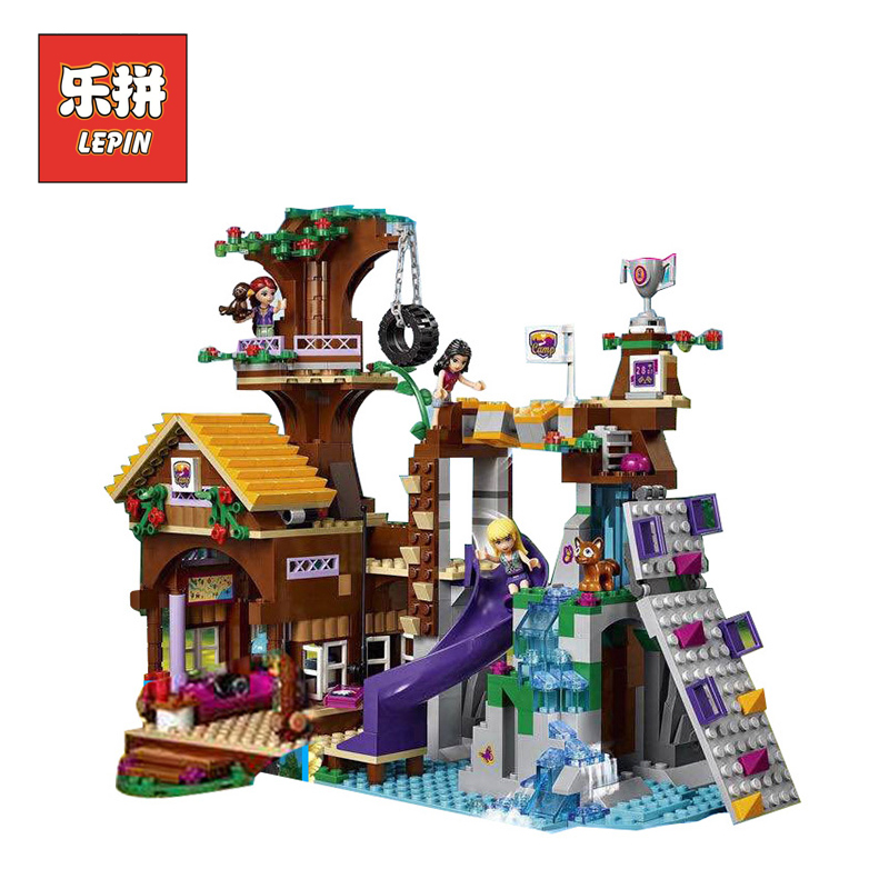 Girl Series Friends 41122 Adventure Camp Tree House DIY Set  Building Blocks Bricks Children Toys Christmas Gift lepin 01047 10162 friends city park cafe building blocks bricks toys girl game toys for children house gift compatible with lego gift