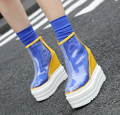 Womens transparent boots 2019 new European and American wedges short boots high heel rain boots Martin boots yhn89Womens transparent boots 2019 new European and American wedges short boots high heel rain boots Martin boots yhn89