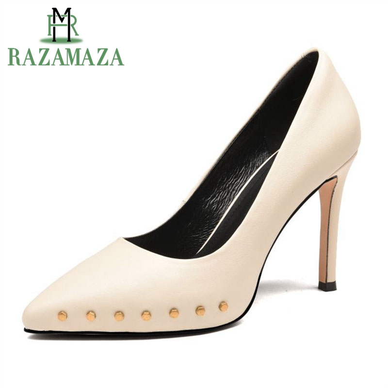 RAZAMAZA Office Lady Genuine Leather High Heel Shoes Women Rivet Thin Heels Pumps Party Office Shoes Women Footwears Size 34-39 джинсы modis modis mo044ewbhjh4