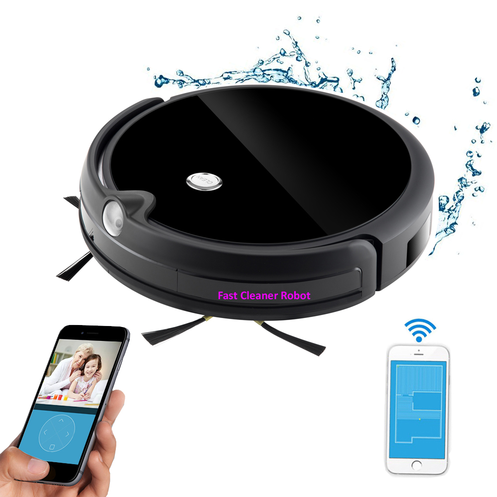 Newest Camera Video Monitor Wet Dry Robot Vacuum Cleaner Wireless With Map Navigation, WiFi App Control,Smart Memory,Water Tank liectroux x5s robot vacuum cleaner map inertial navigation wifi app control water tank lion battery wet