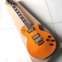 Custom Shop Floyd Rose LP Electric Guitar Gold Hardware Rosewood Fretboard Orange Tiger Stripes Body Real