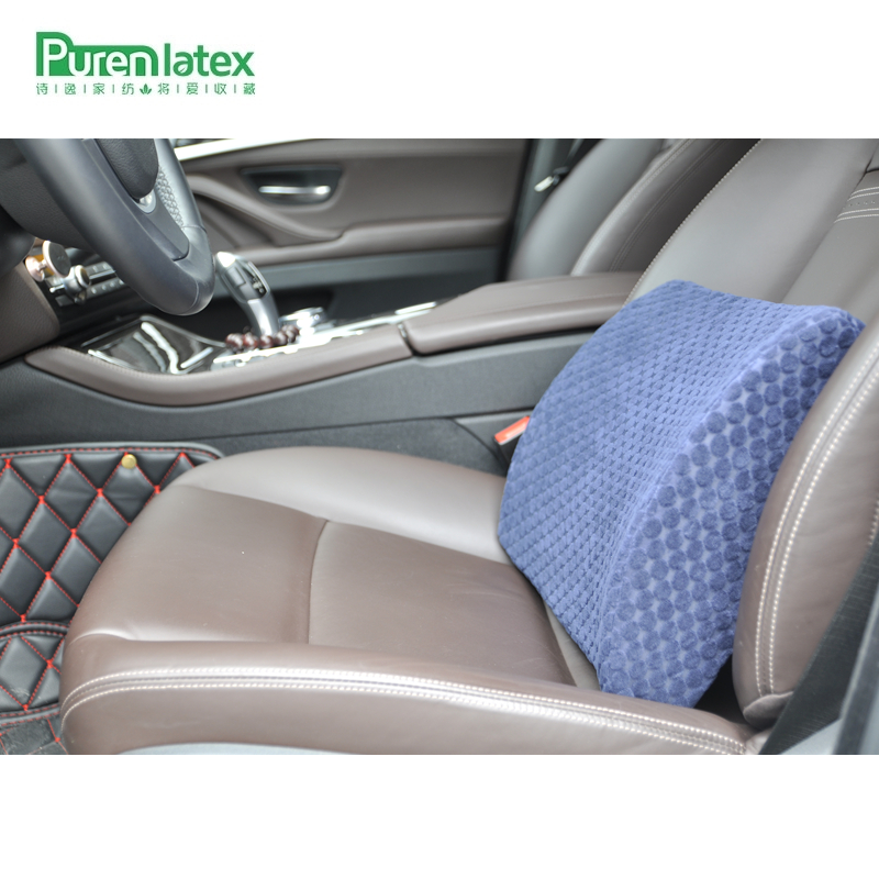 PurenLatex 33*31*10 Saddle Shape Car Seat Driving Cushion Memory Cushion Lumbar Spine Protect Pillow Office Chair Back Waist Pad