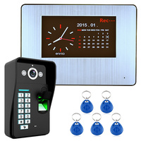 One to One Video Doorbell 7 Lcd Recording HD 1000TVL DVR Fingerprint Recognition Video Door Phone Intercom System kit