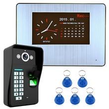One to One Video Doorbell 7″ Lcd  Recording HD 1000TVL DVR Fingerprint Recognition Video Door Phone Intercom System kit