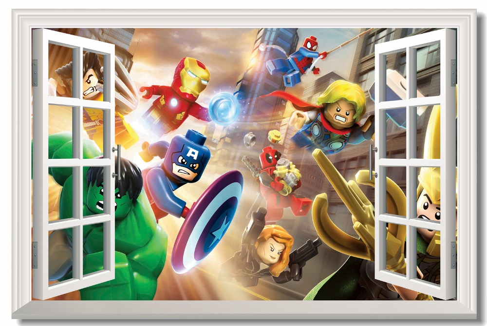 Us 543 32 Offcustom Canvas Wall Mural Lego Aavengers Poster Lego Marvel Super Heroes Wallpaper 3d Window Stickers Nursery Decoration 0775 In