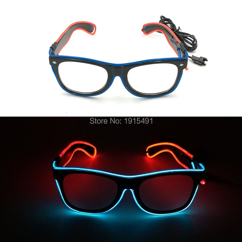 10 Style Select 2 Color Mixed Thanksgiving Male El Blinking Eyewear Novelty Lighting Fashionable LED Neon Glasses for Cosplay