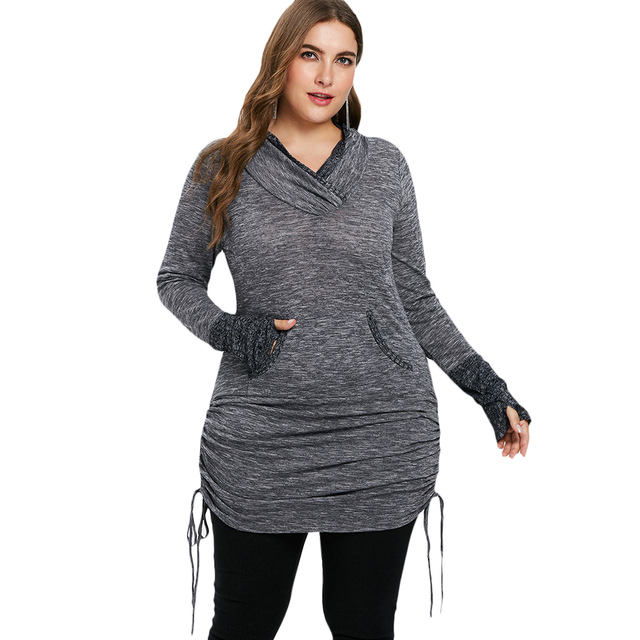 2e54c886e0bd Kenancy Plus Size Women Sweatshirts Shirred Side Extra Long Shirt Kangaroo  Pocket Ribbed Cuff Shawl Collar Pullover Women'S Tops
