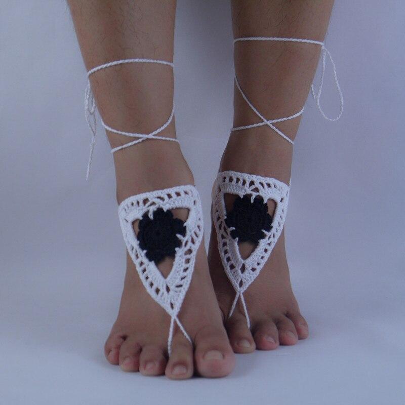 2016 sexy Crochet Las Sandalias Descalzas, zapatos Nude patrón ...